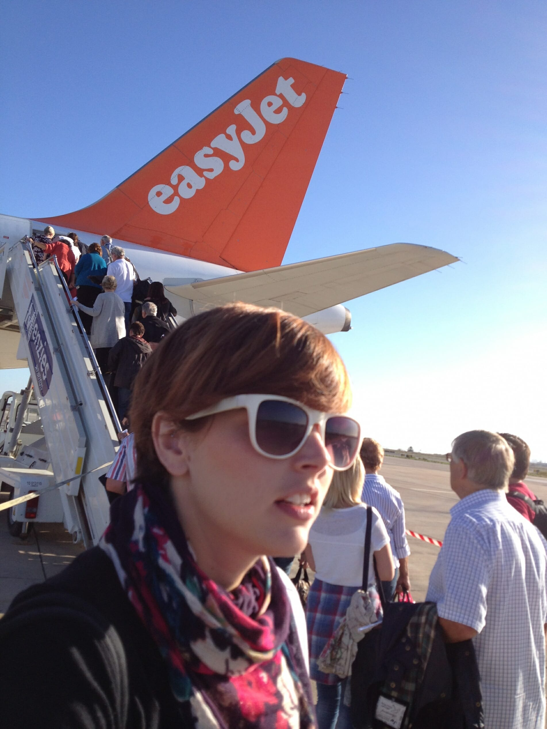Harriet from The Zoots on an easy jet flight on tour