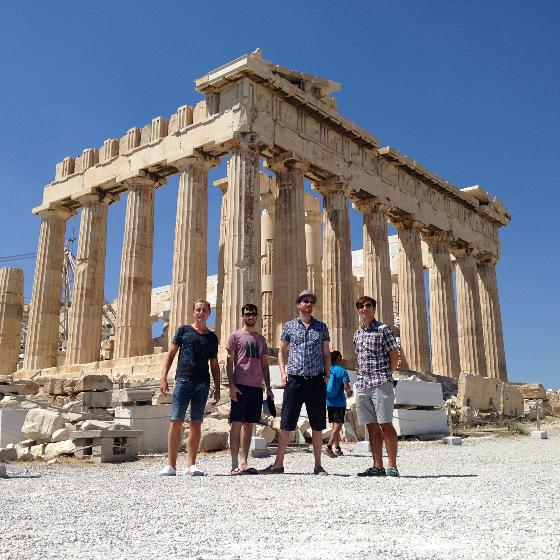The Zoots in Athens, Band on tour, Band in Athens, Parthenon