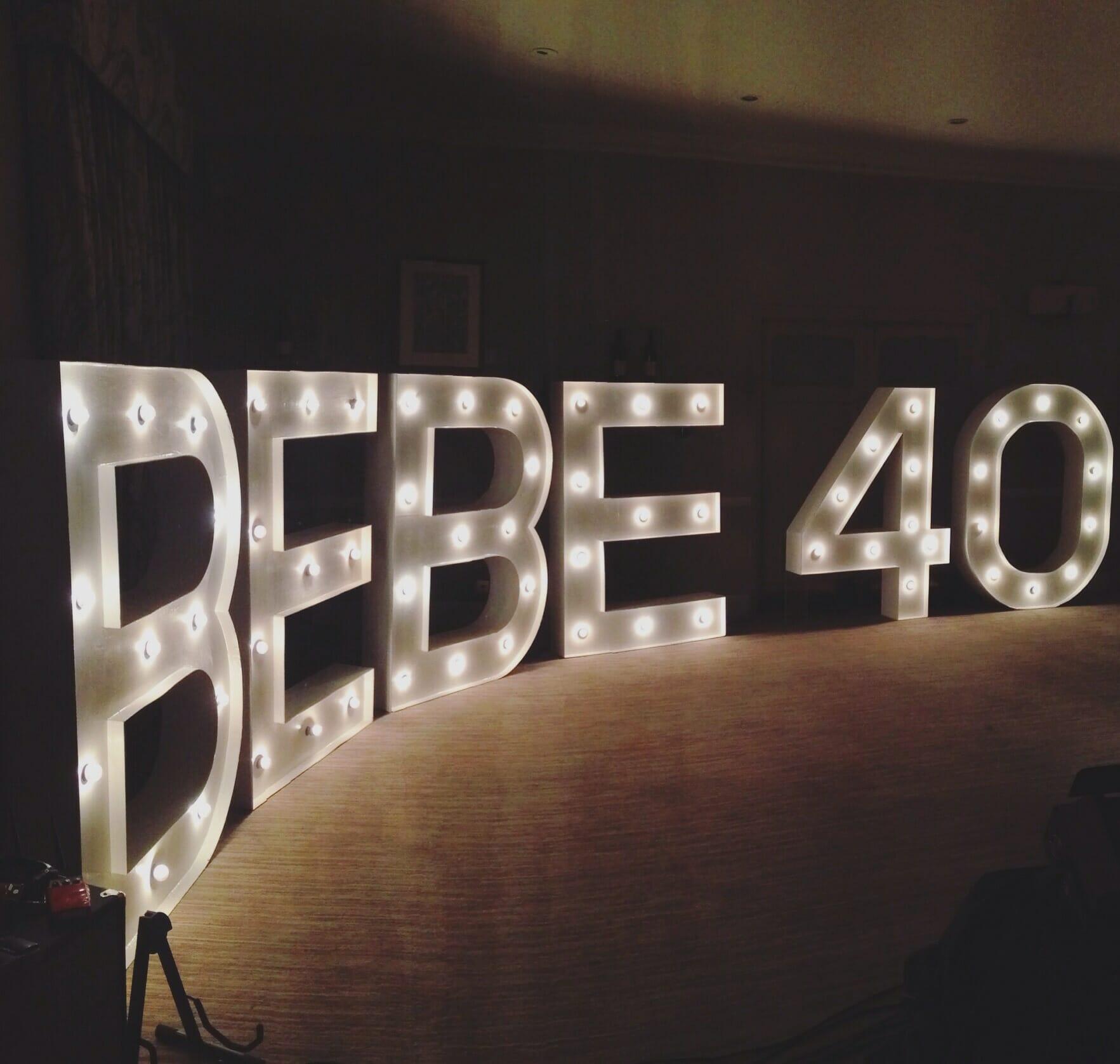 Illumiated letters, large lettering, bebeturns40, vineyardhotel, newbury hotel, band Newbury, Band in Wiltshire, Band in Berkshire,