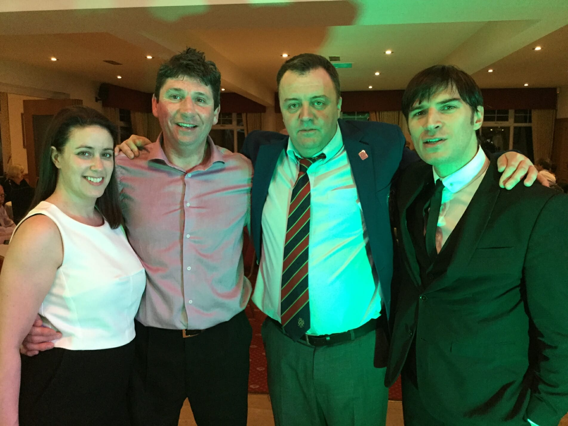 dani, stuart Kent, Lee Morgan and Jamie from The Zoots, the band for the golf club, band for the golf party, entertainment for the golf, band in Herts